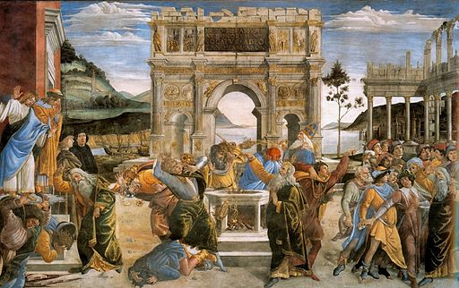 Sandro Botticelli The Punishment of Korah and the Stoning of Moses and Aaron. 1481-1482