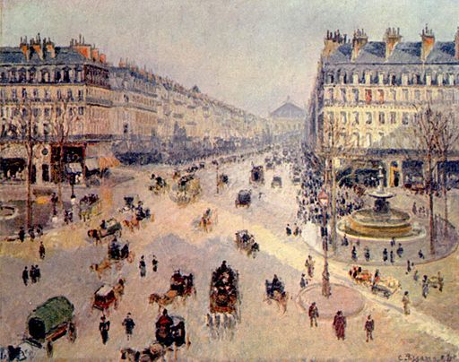 Camille Pissarro Place du Théâtre-Francais and the Avenue de l'Opéra, Sunlight, Winter Morning 1898