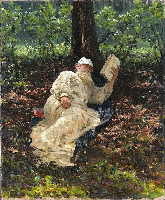 Ilya Repin Lev Nikolayevich Tolstoy resting in the forest 1891