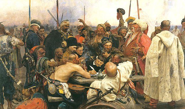 Ilya Repin The Zaporozhian Cossacks write a letter to the Sultan of Turkey 1880–1891