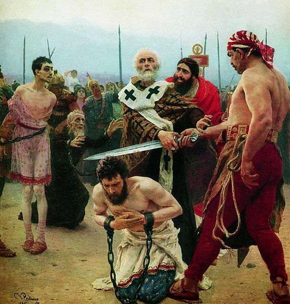 Ilya Repin Saint Nicholas of Myra saves three innocents from death 1888