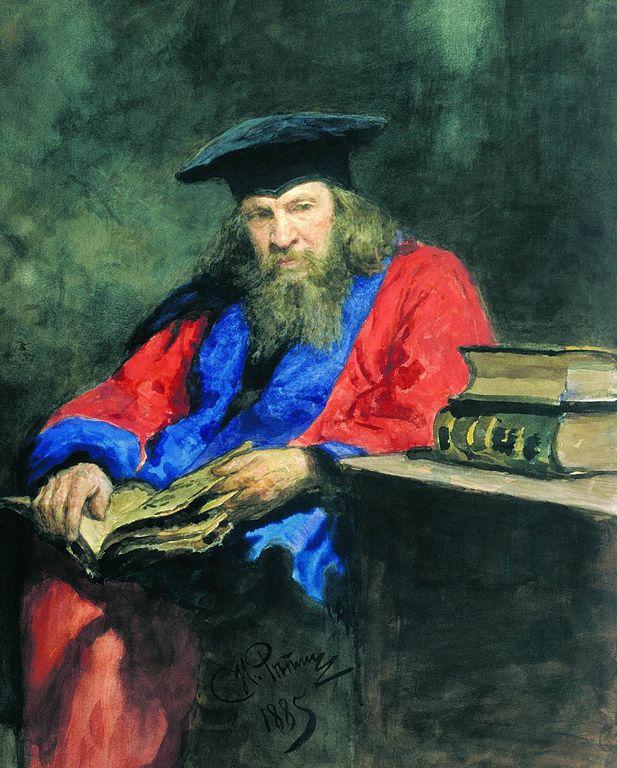 Ilya Repin Portrait of Dmitry Ivanovich Mendeleev wearing the Edinburgh University professor robe 1885