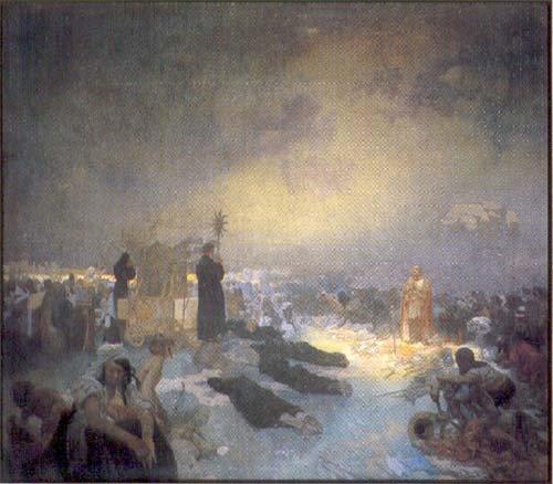 Alfons Maria Mucha Po bitvě na Vítkově: Tě Boha chválíme