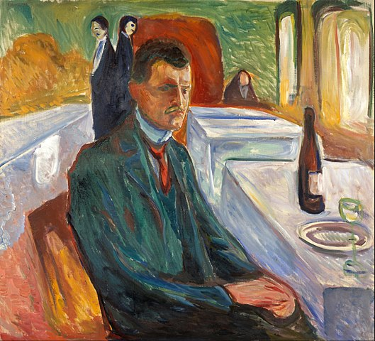 Edvard Munch Self-Portrait with a Bottle of Wine 1906