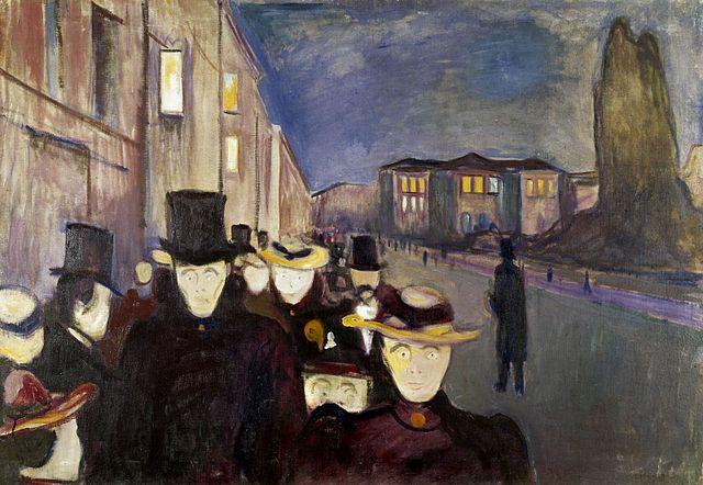 Edvard Munch Evening on Karl Johan Street 1892