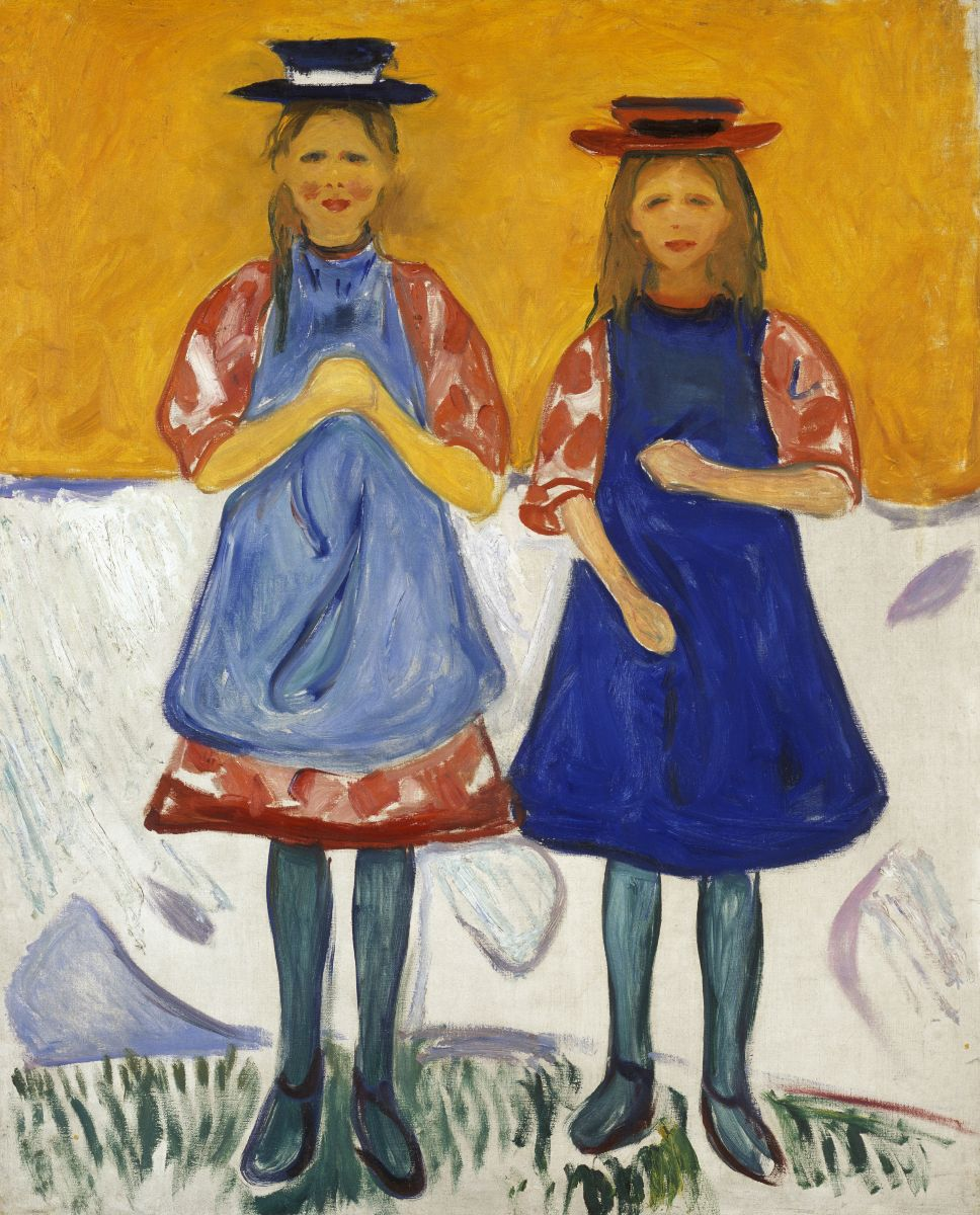 Edvard Munch Two Little Girls with Blue Aprons 1904-1905
