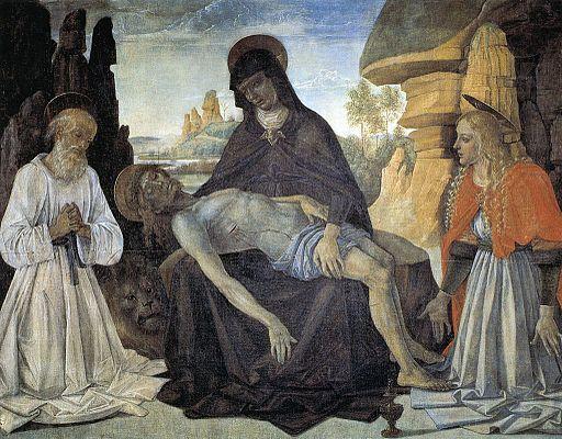 Pietro Perugino Pietà con San Girolamo e Santa Maria Maddalena. 1473