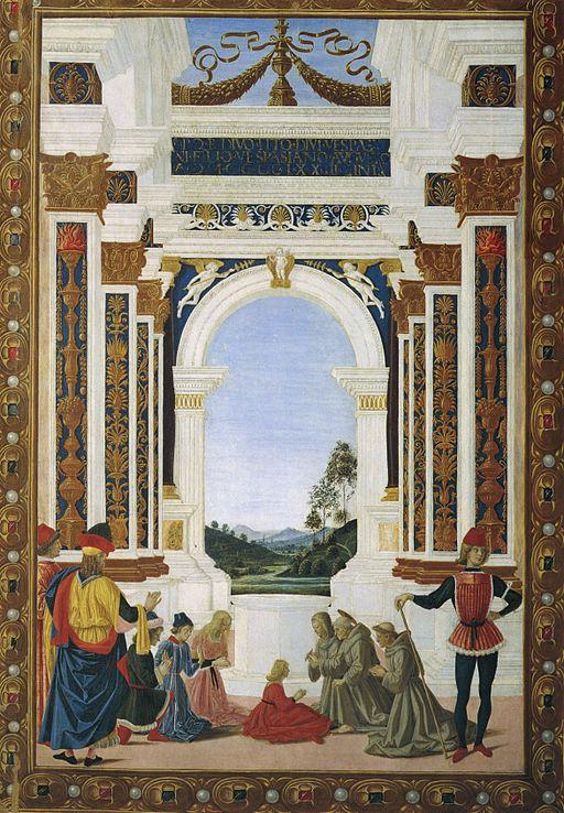 Pietro Perugino San Bernardino risana da un'ulcera la figlia di Giovanni Antonio Petrazio da Rieti 1473