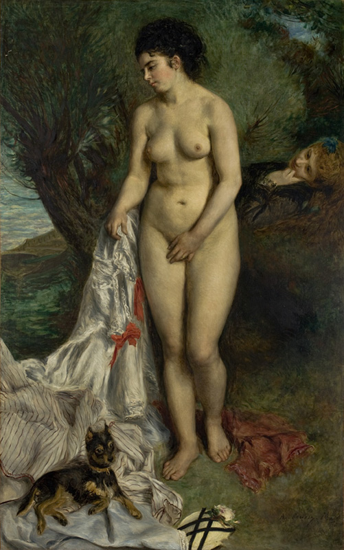 Pierre-Auguste Renoir Bather with a Griffon Dog 1870