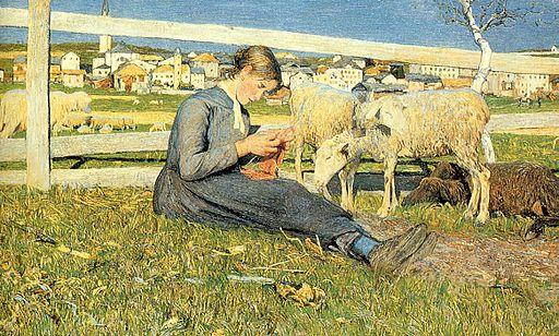 Giovanni Segantini Knitting girl 1888
