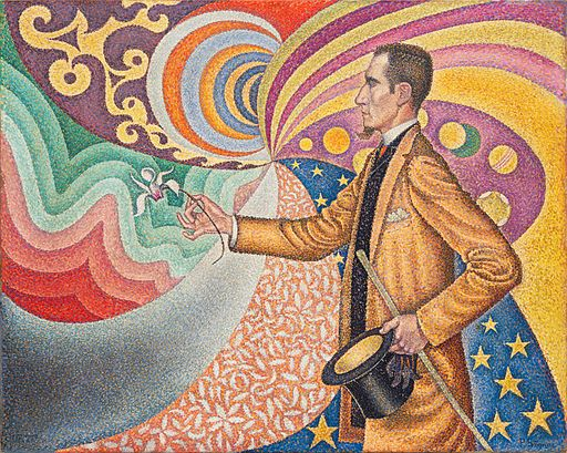 Paul Signac Against the Enamel of a Background Rhythmic with Beats and Angles, Tones, and Tints, Portrait of M. Félix Fénéon 1890