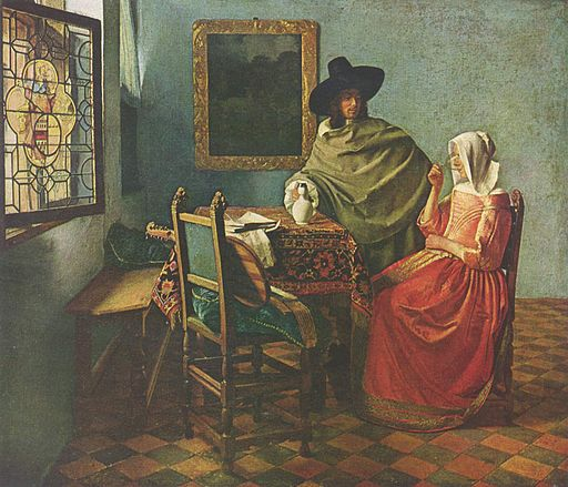 Johannes Vermeer A Lady Drinking and a Gentleman and The Glass of Wine