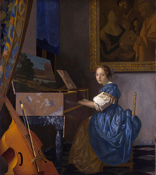 Johannes Vermeer A young woman seated at a virginal 1675
