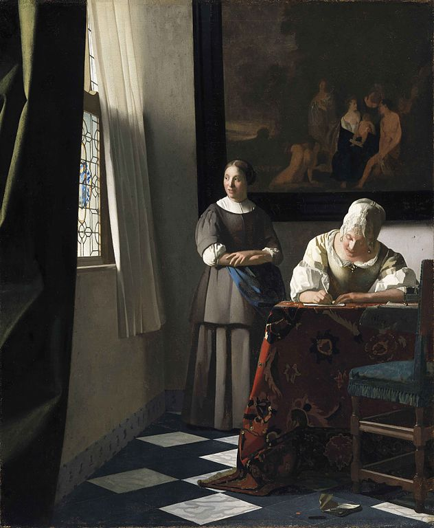Johannes Vermeer Lady writing a letter with her maid 1670