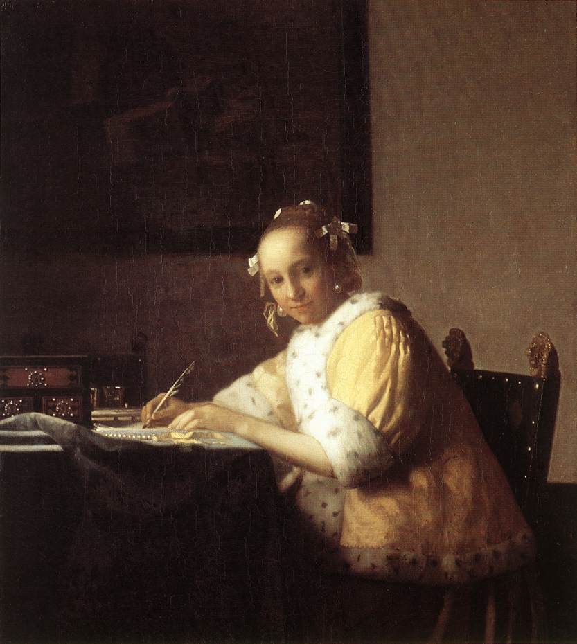 Johannes Vermeer A lady writing a Letter 1665