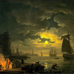 Claude Joseph, Entrance to the Port of Palermo by Moonlight (1769)